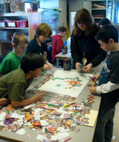 East Kingston Elementary School Trash Self-portrait Mosaic, 2009
